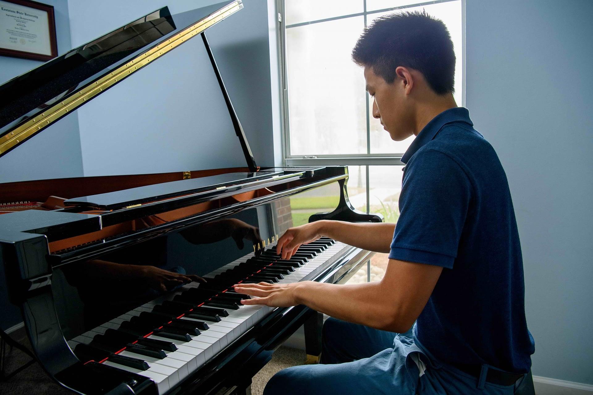 High school student piano lesson